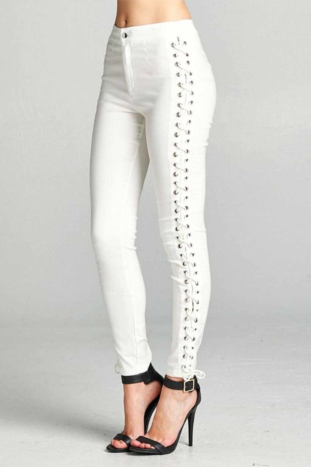 Active Basic Side Lace Skinny-Pants - Front Full Image