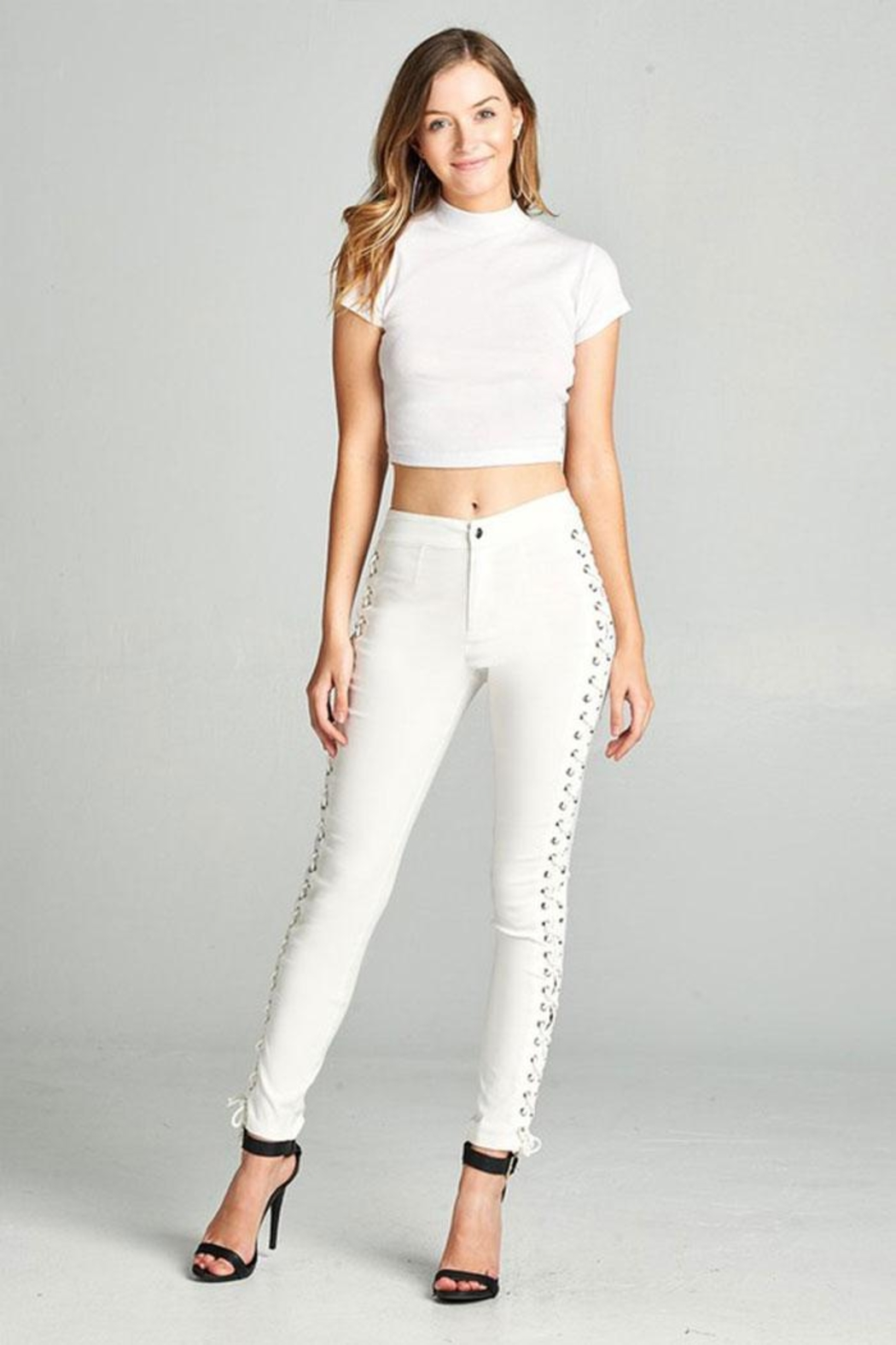 Active Basic Side Lace Skinny-Pants - Front Cropped Image