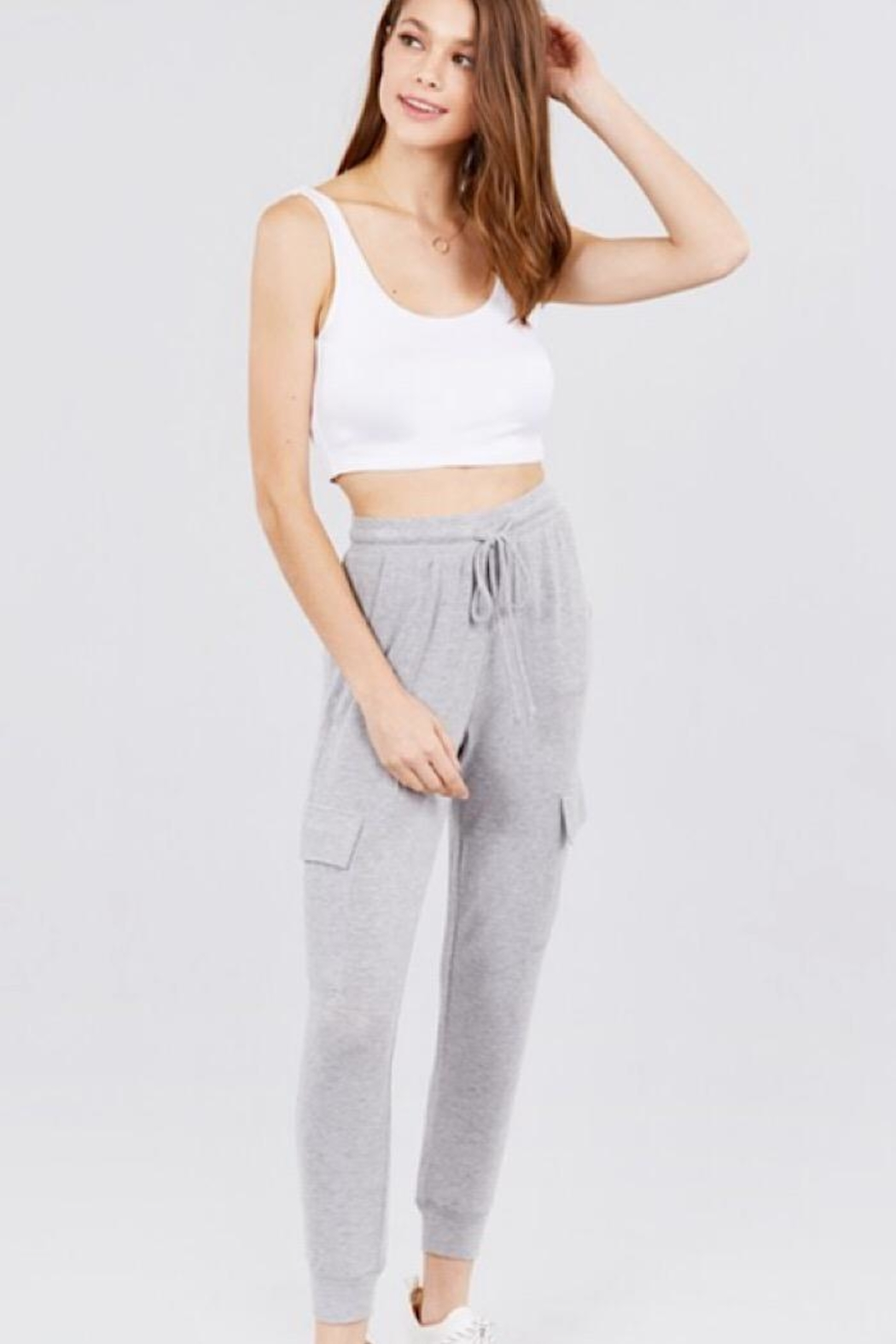 Active Basic Side Pocket Sweats - Front Cropped Image