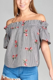 Active Basic Striped Floral Top - Product Mini Image