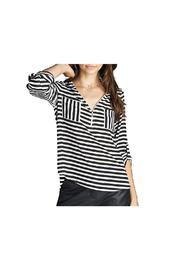 Active Basic Striped Zipper Top - Product Mini Image
