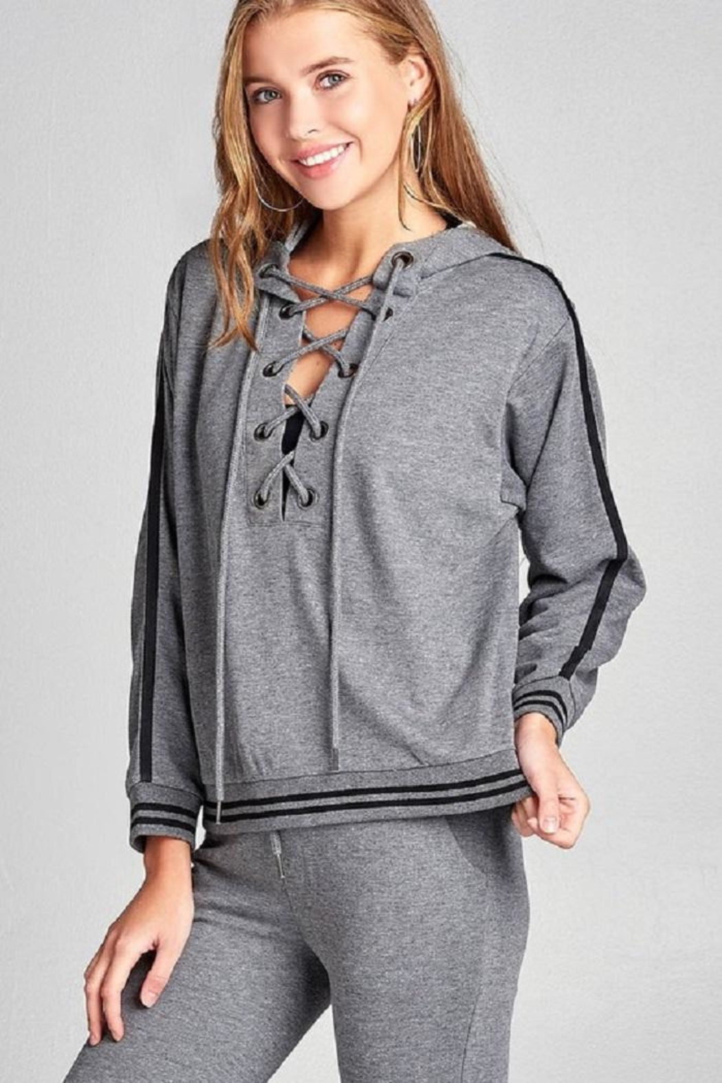 Active Basic Tie Up Hoodie - Front Cropped Image