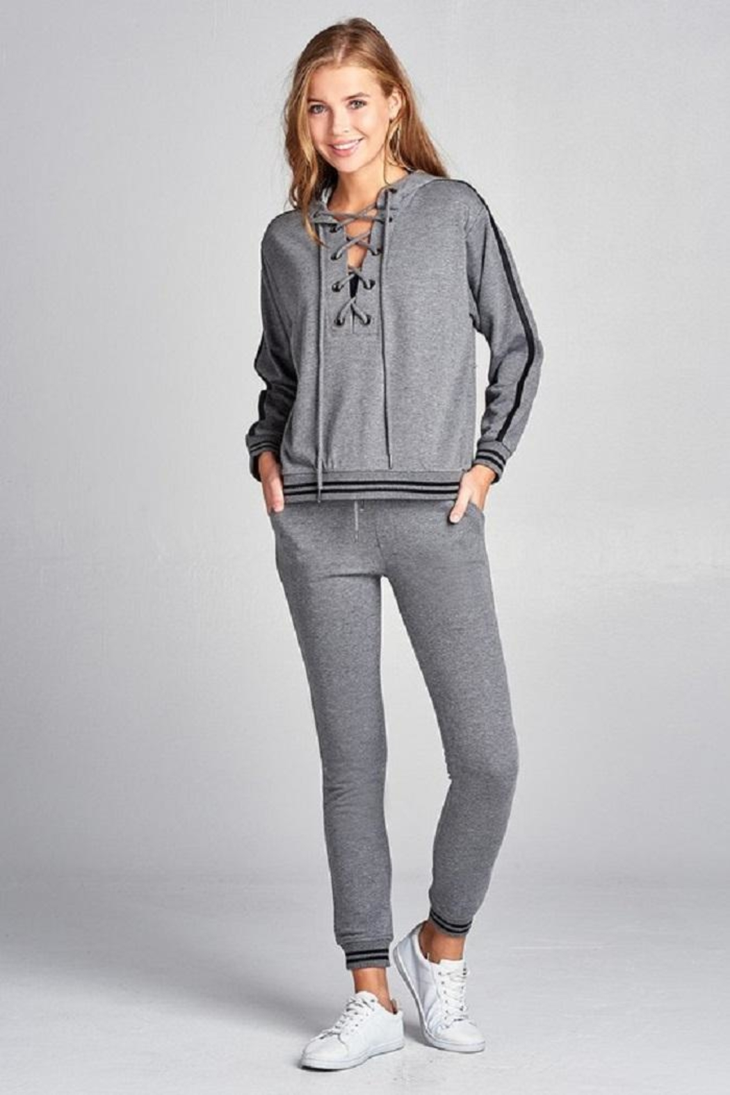 Active Basic Tie Up Hoodie - Back Cropped Image