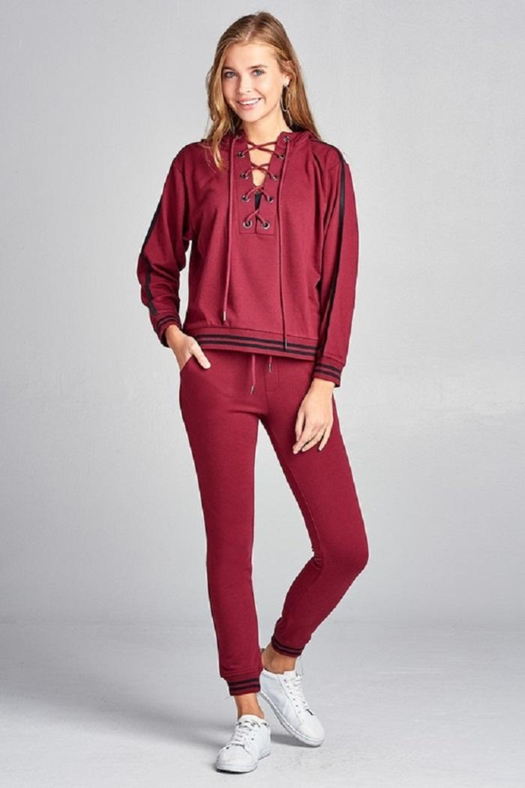 Active Basic Tie Up Hoodie - Front Full Image