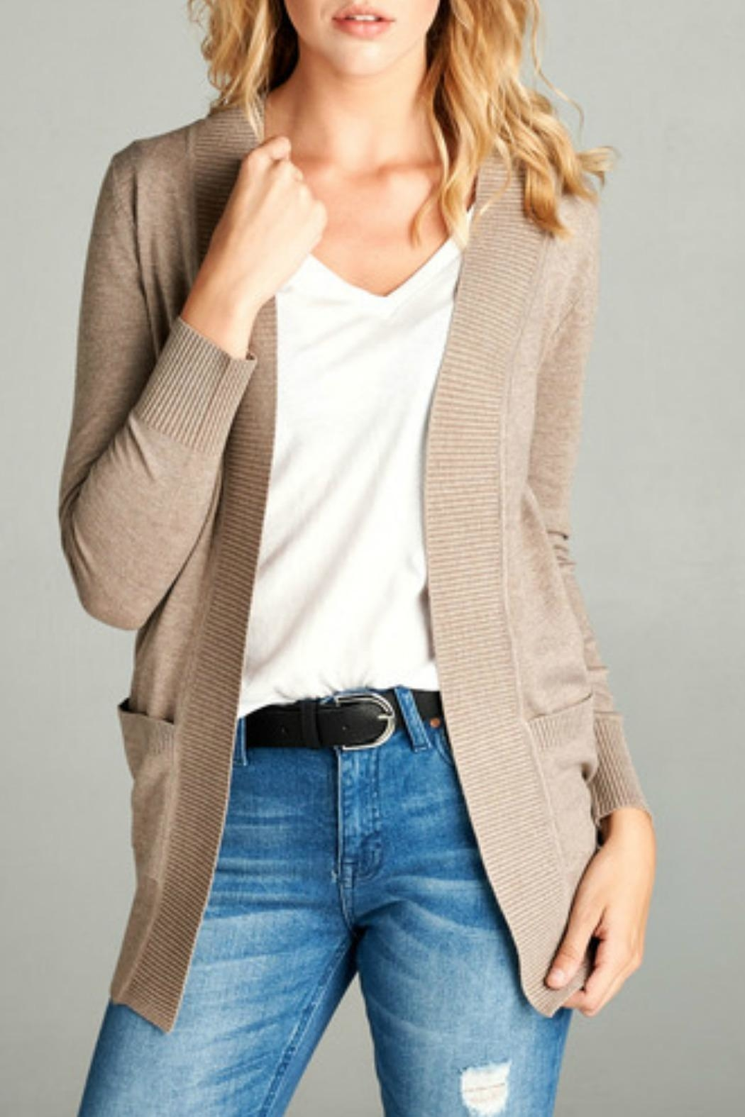 Active Basic Weekender Oatmeal Cardigan - Front Cropped Image