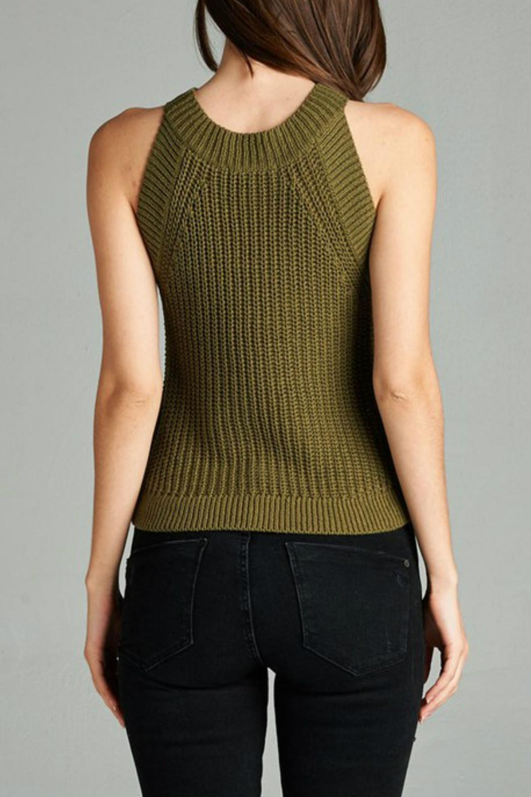 Active Style Olive Knit Tank - Back Cropped Image