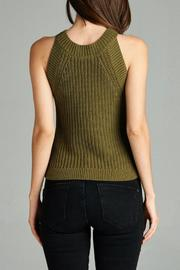 Active Style Olive Knit Tank - Back cropped
