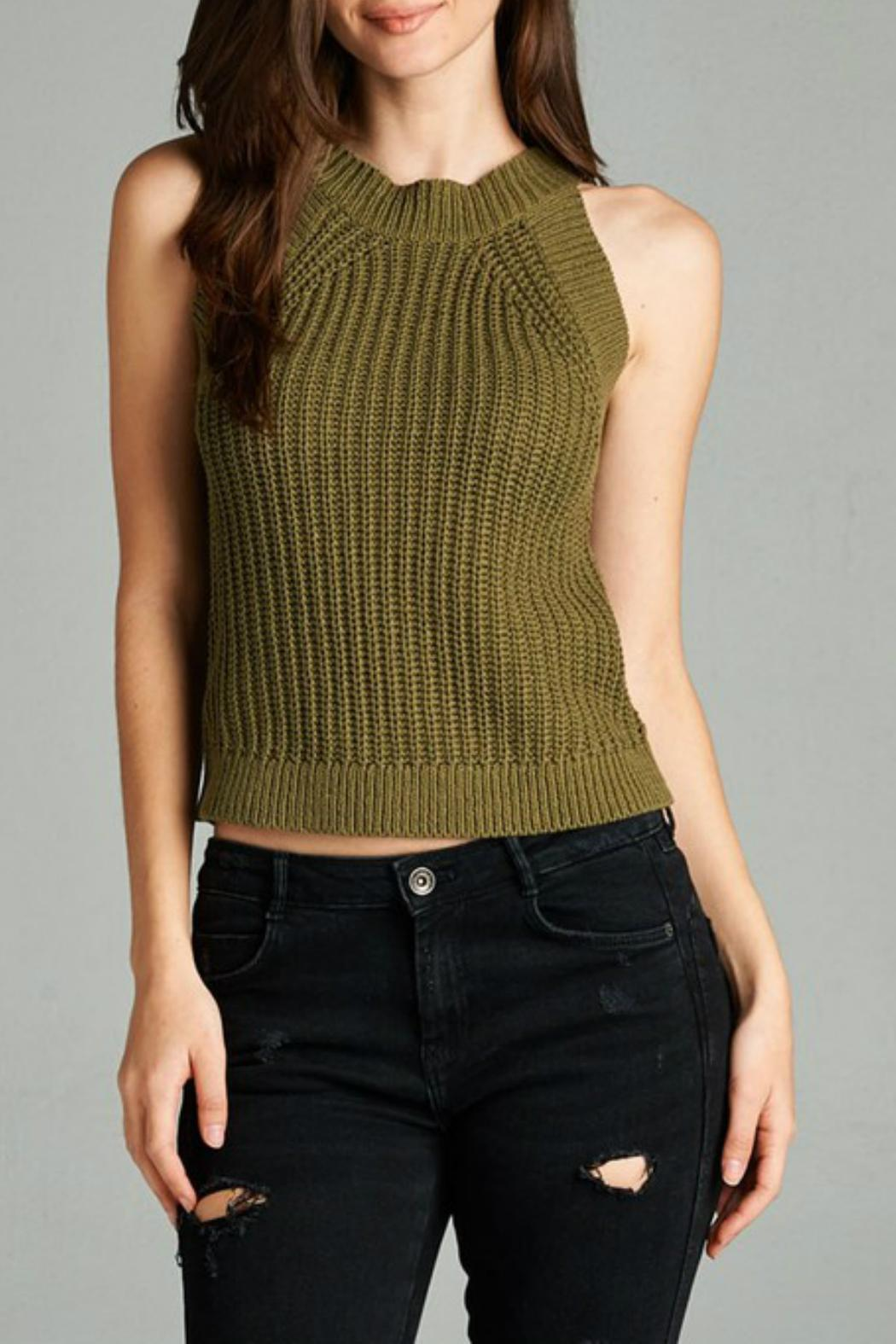 Active Style Olive Knit Tank - Main Image