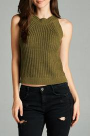 Active Style Olive Knit Tank - Front cropped