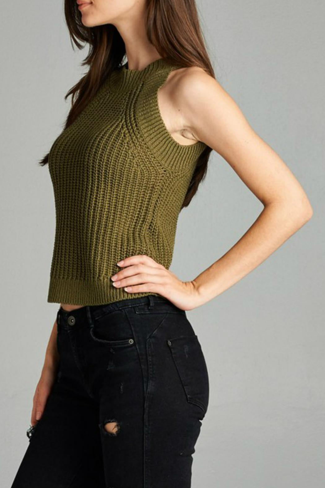 Active Style Olive Knit Tank - Side Cropped Image