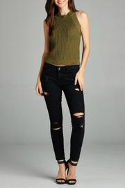 Active Style Olive Knit Tank - Front full body