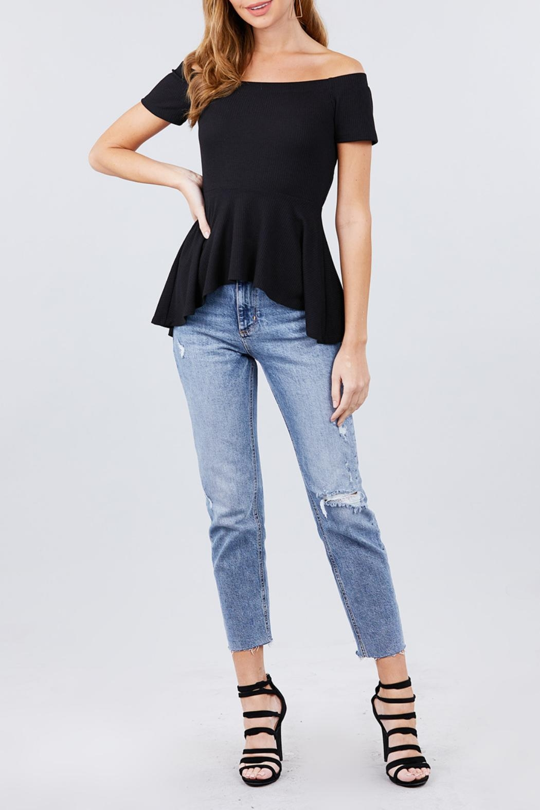 Active USA Black Peplum Top - Side Cropped Image