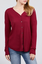 Active USA Burgundy Hacci Cardigan - Product Mini Image