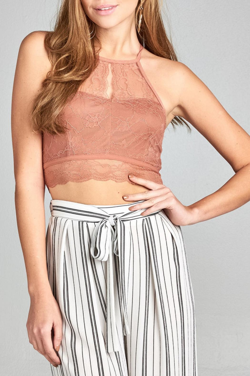 Active USA Dawn-Pink Lace Bralette - Main Image