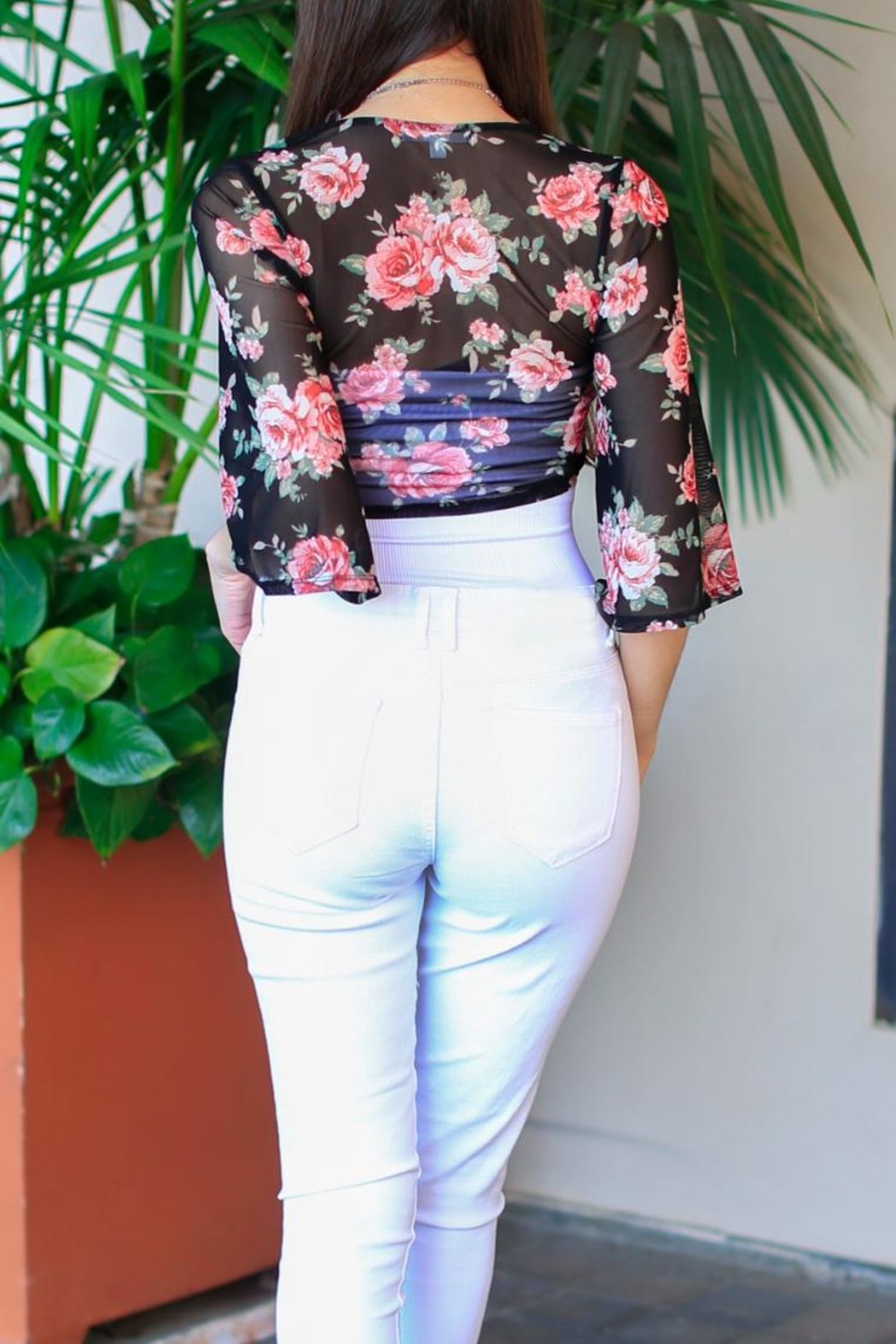 Active USA Floral Black Top - Front Full Image