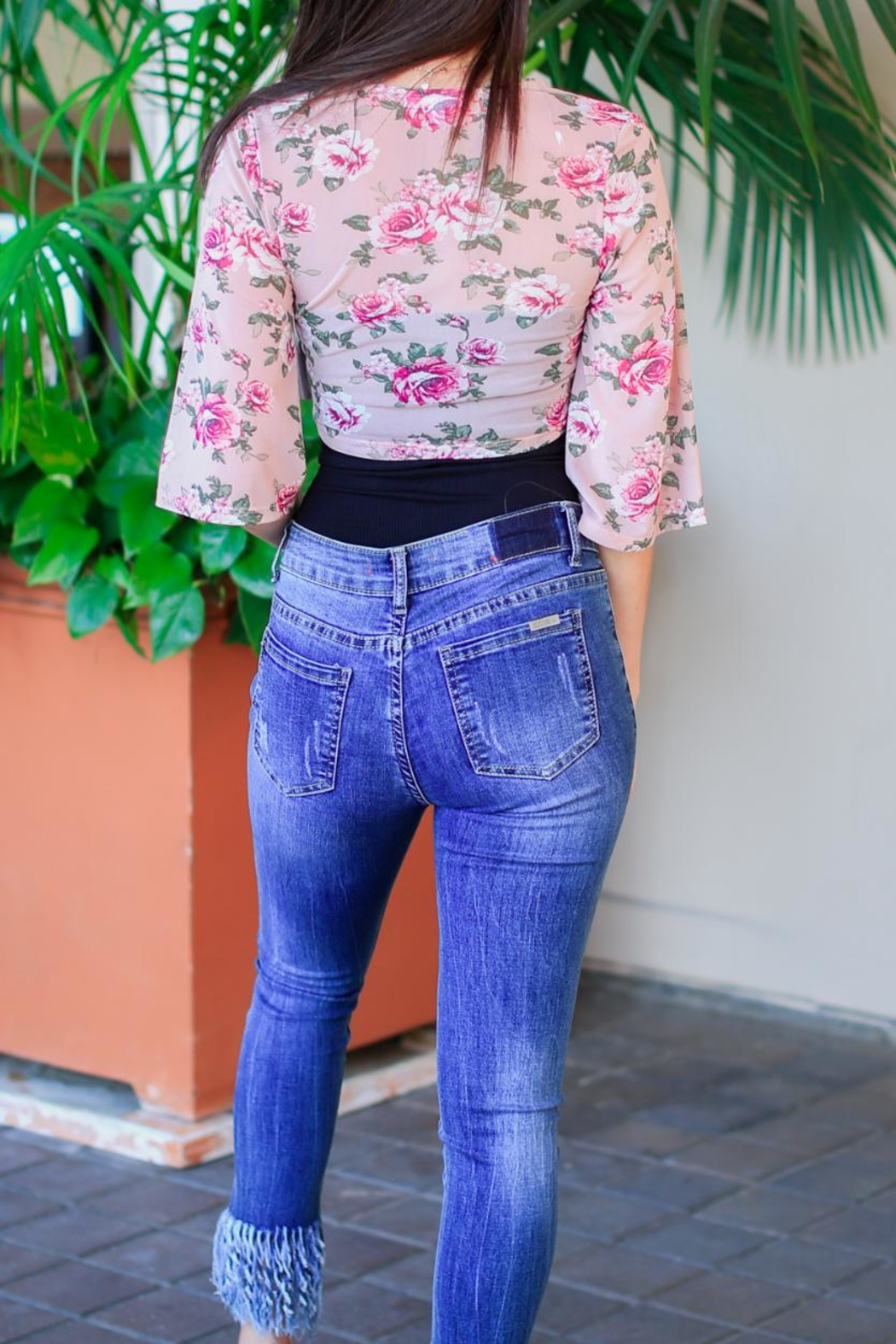 Active USA Floral Pink Top - Front Full Image
