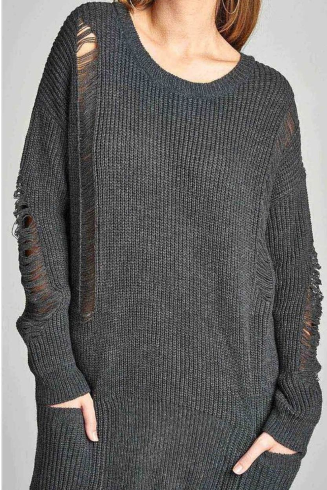 Active USA Gray Distressed Sweater - Front Full Image