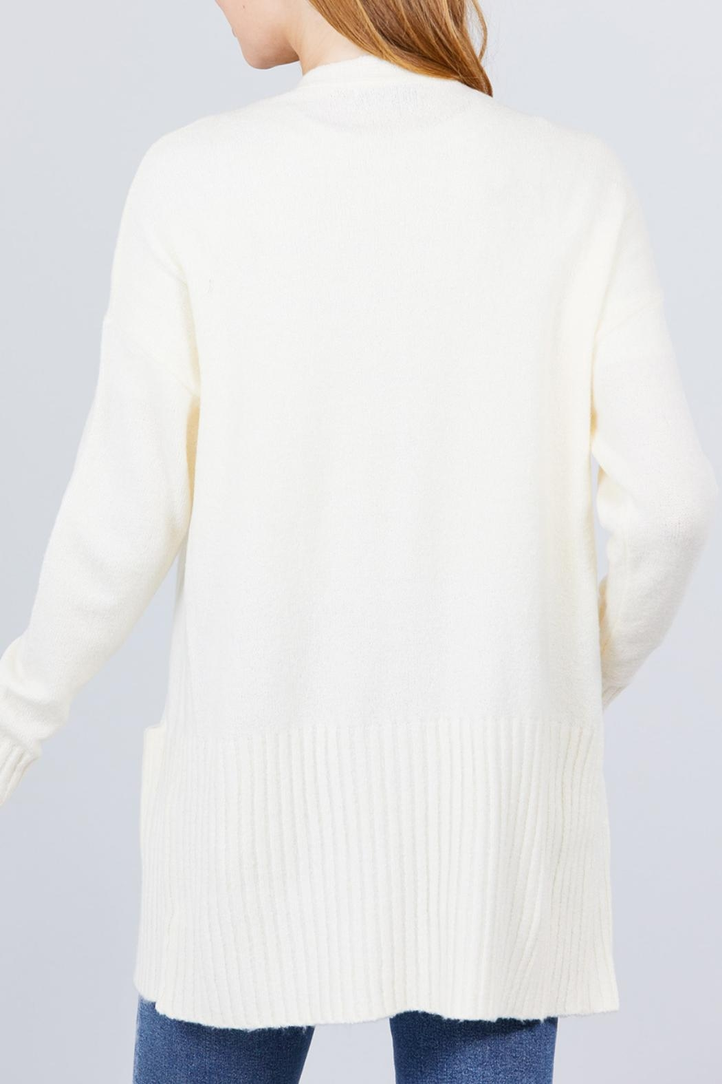 Active USA Ivory Open-Front Cardigan - Back Cropped Image
