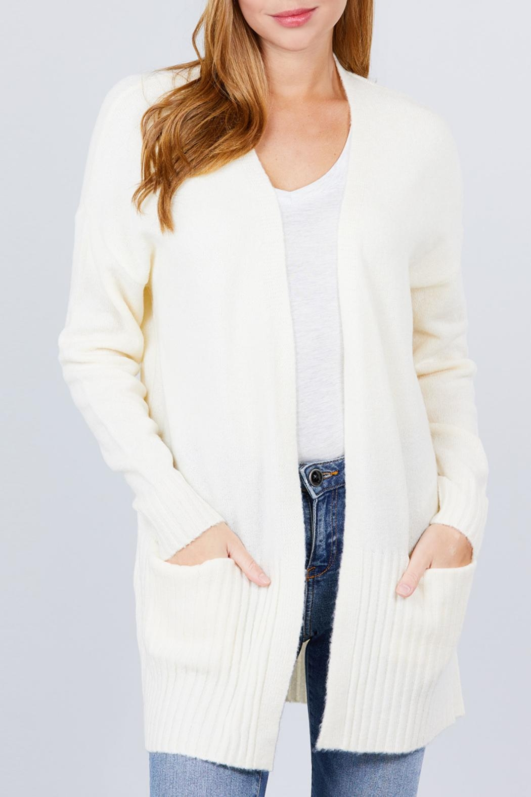 Active USA Ivory Open-Front Cardigan - Main Image