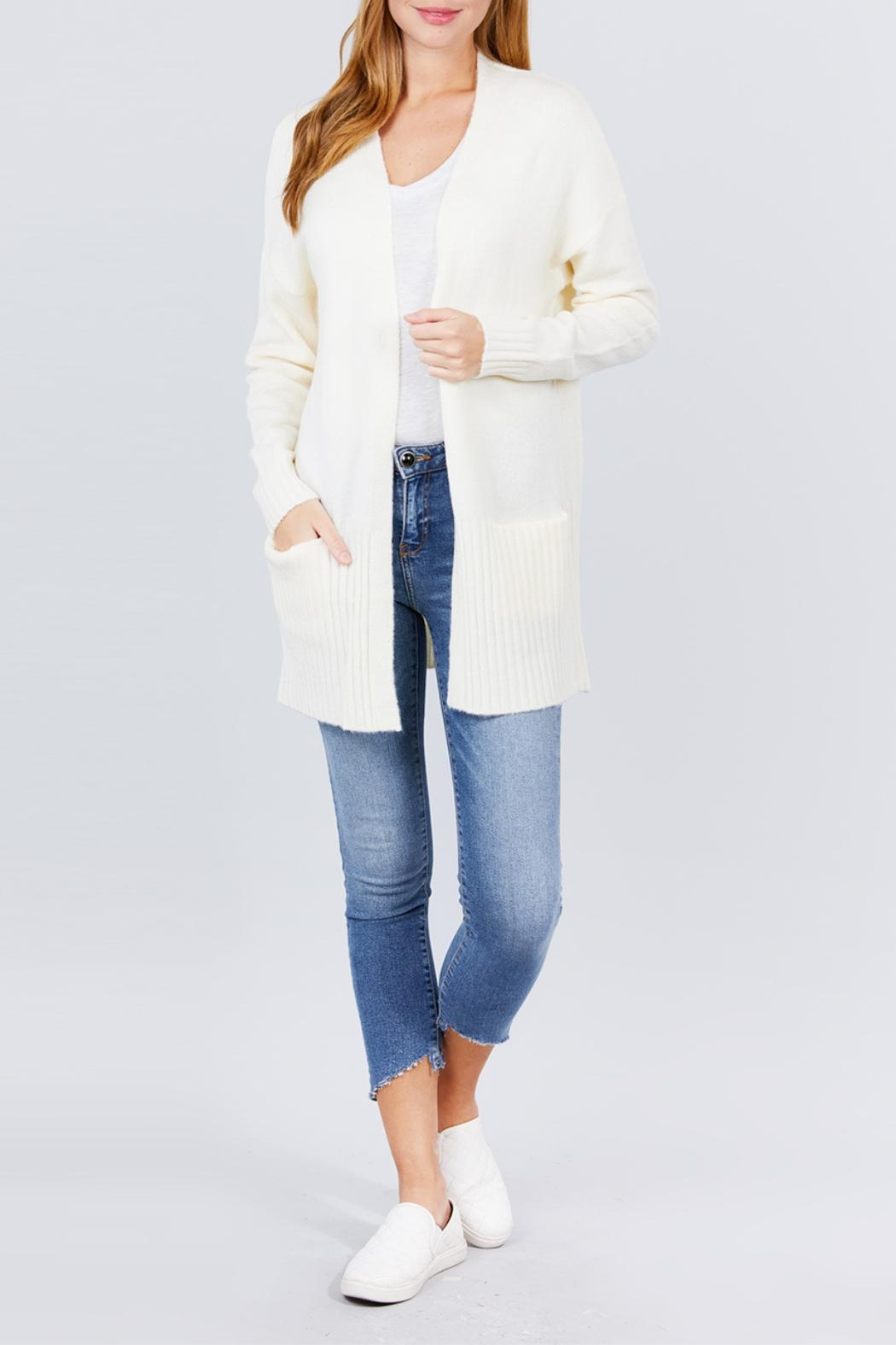 Active USA Ivory Open-Front Cardigan - Side Cropped Image