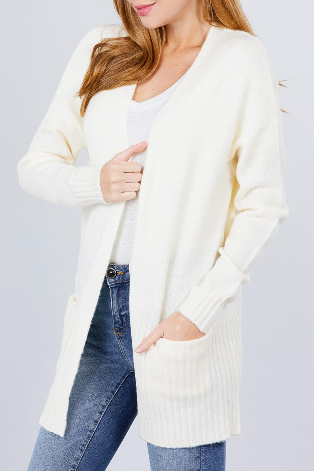 Active USA Ivory Open-Front Cardigan - Front Full Image
