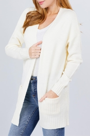 Active USA Ivory Open-Front Cardigan - Front full body