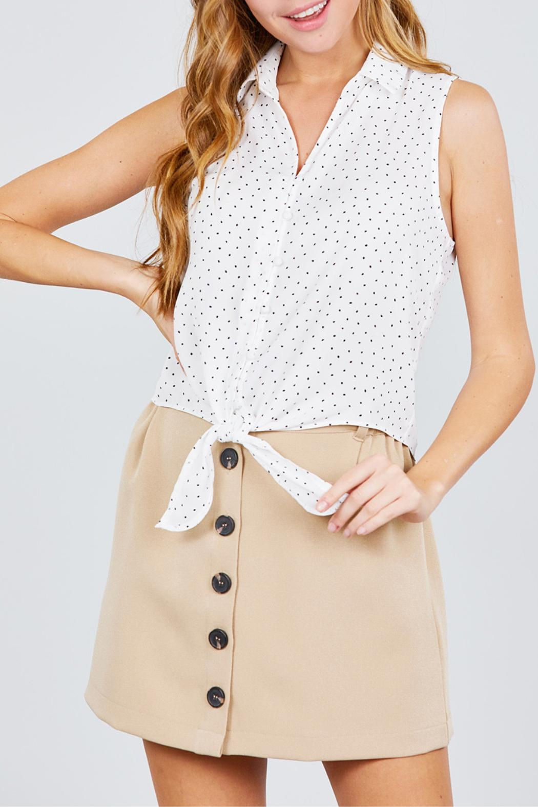 Active USA Khaki Button-Down Skirt - Front Cropped Image
