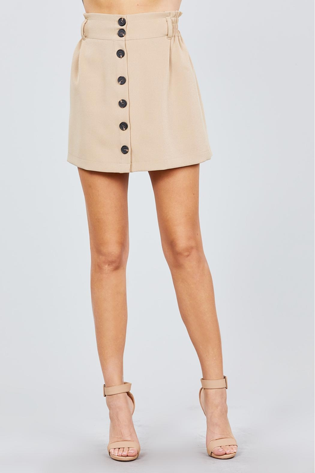 Active USA Khaki Button-Down Skirt - Front Full Image