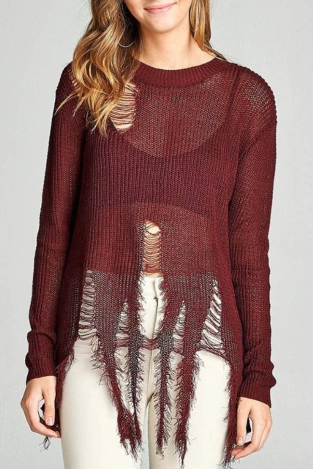 Active USA Maroon Distressed Sweater - Front Full Image