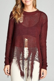 Active USA Maroon Distressed Sweater - Front full body