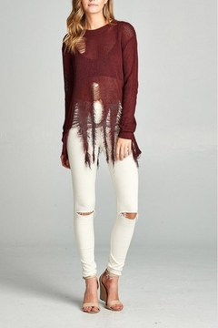 Shoptiques Product: Maroon Distressed Sweater