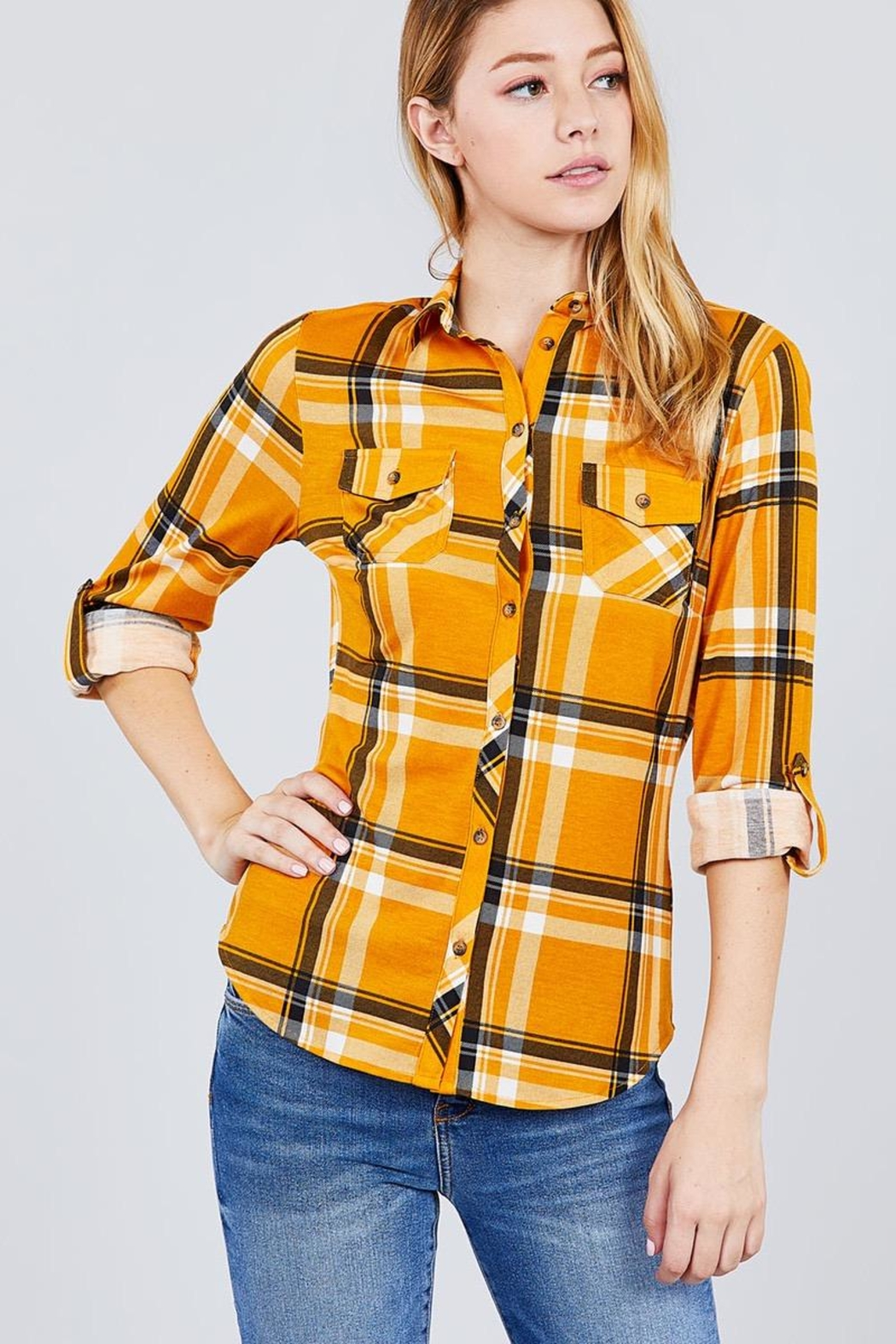 Active USA Mustard Flannel - Front Full Image