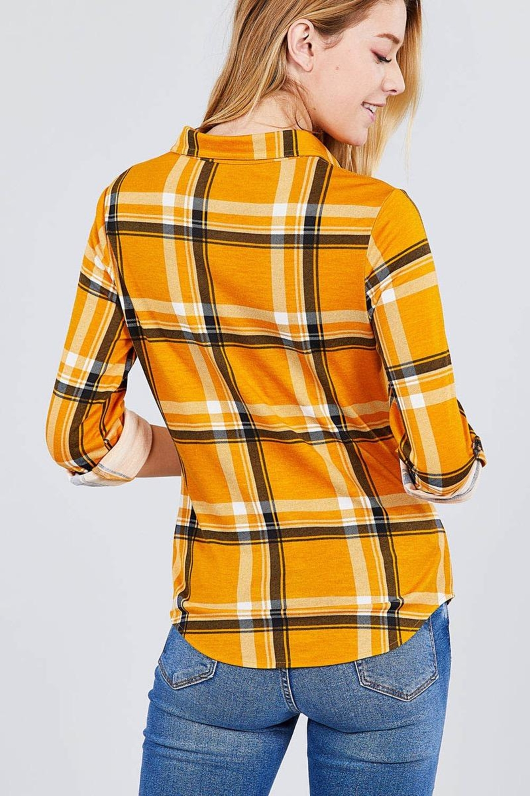 Active USA Mustard Flannel - Side Cropped Image