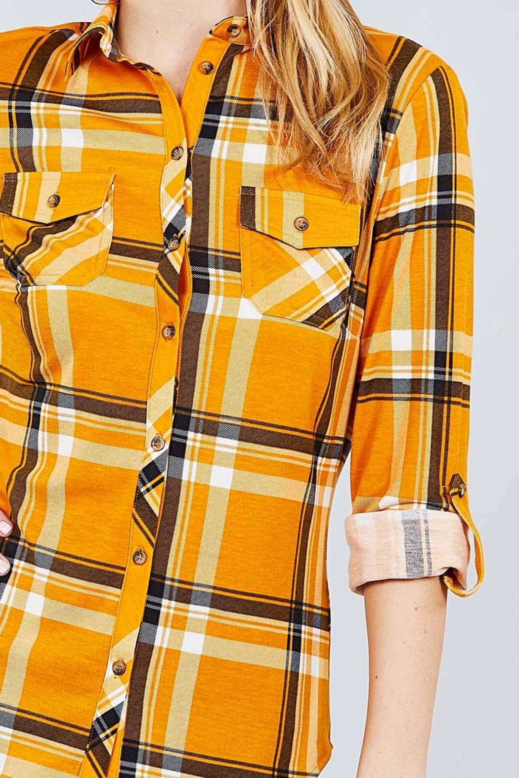 Active USA Mustard Flannel - Back Cropped Image