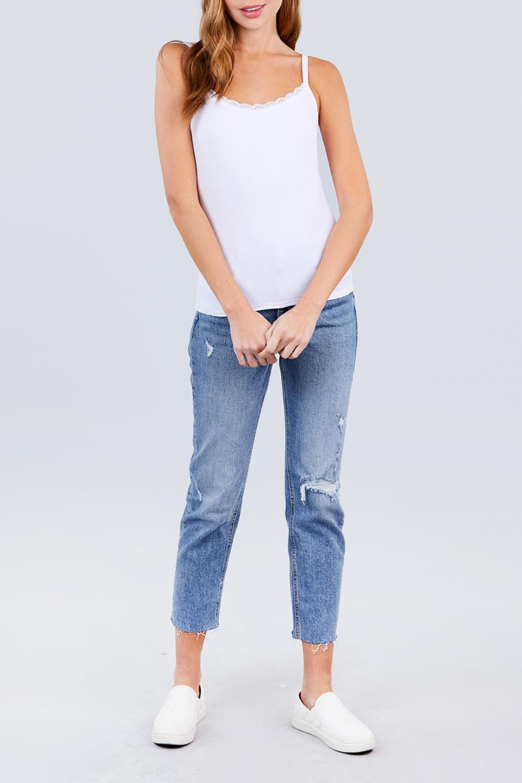 Active USA Off-White Rib Cami - Front Full Image