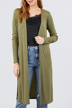 Active USA Olive Pointelle Cardigan - Product List Image