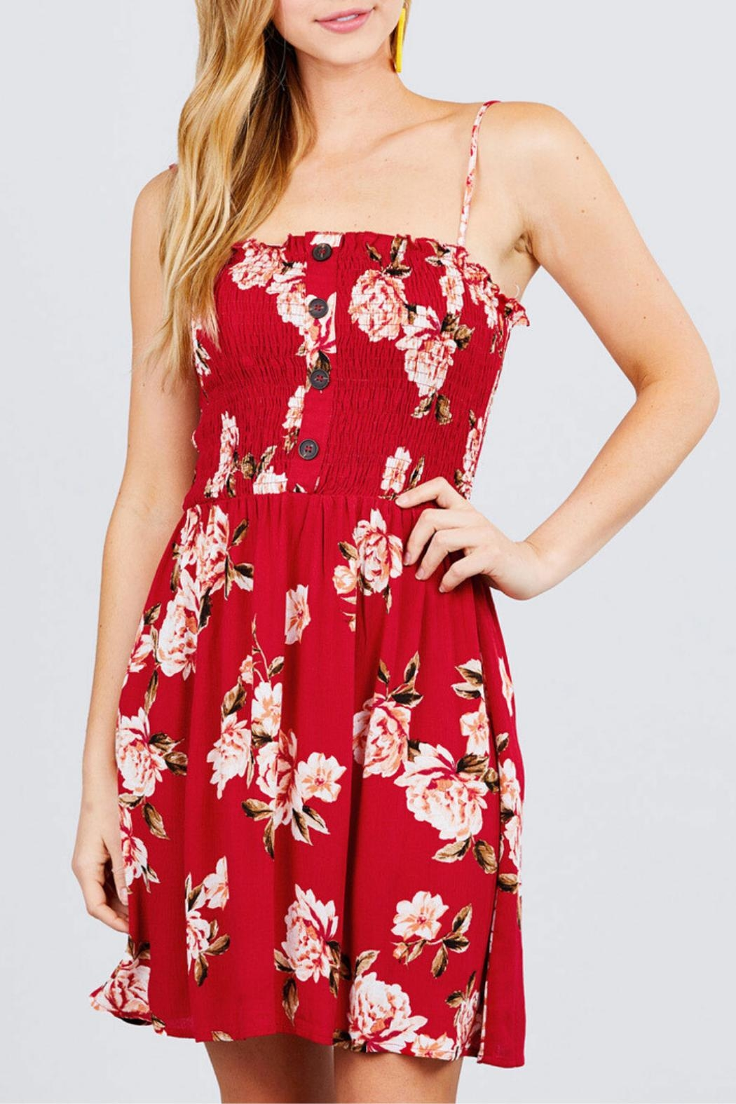 Active USA Red Floral Dress - Main Image