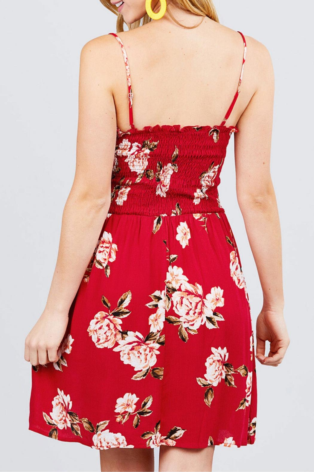 Active USA Red Floral Dress - Back Cropped Image