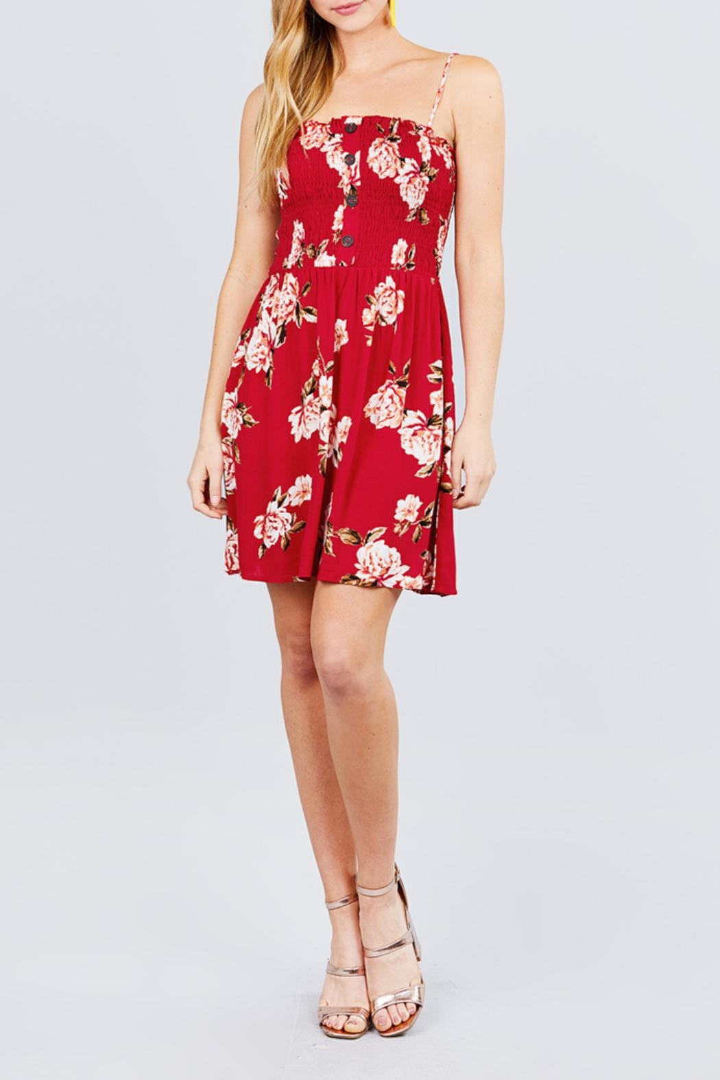 Active USA Red Floral Dress - Front Full Image