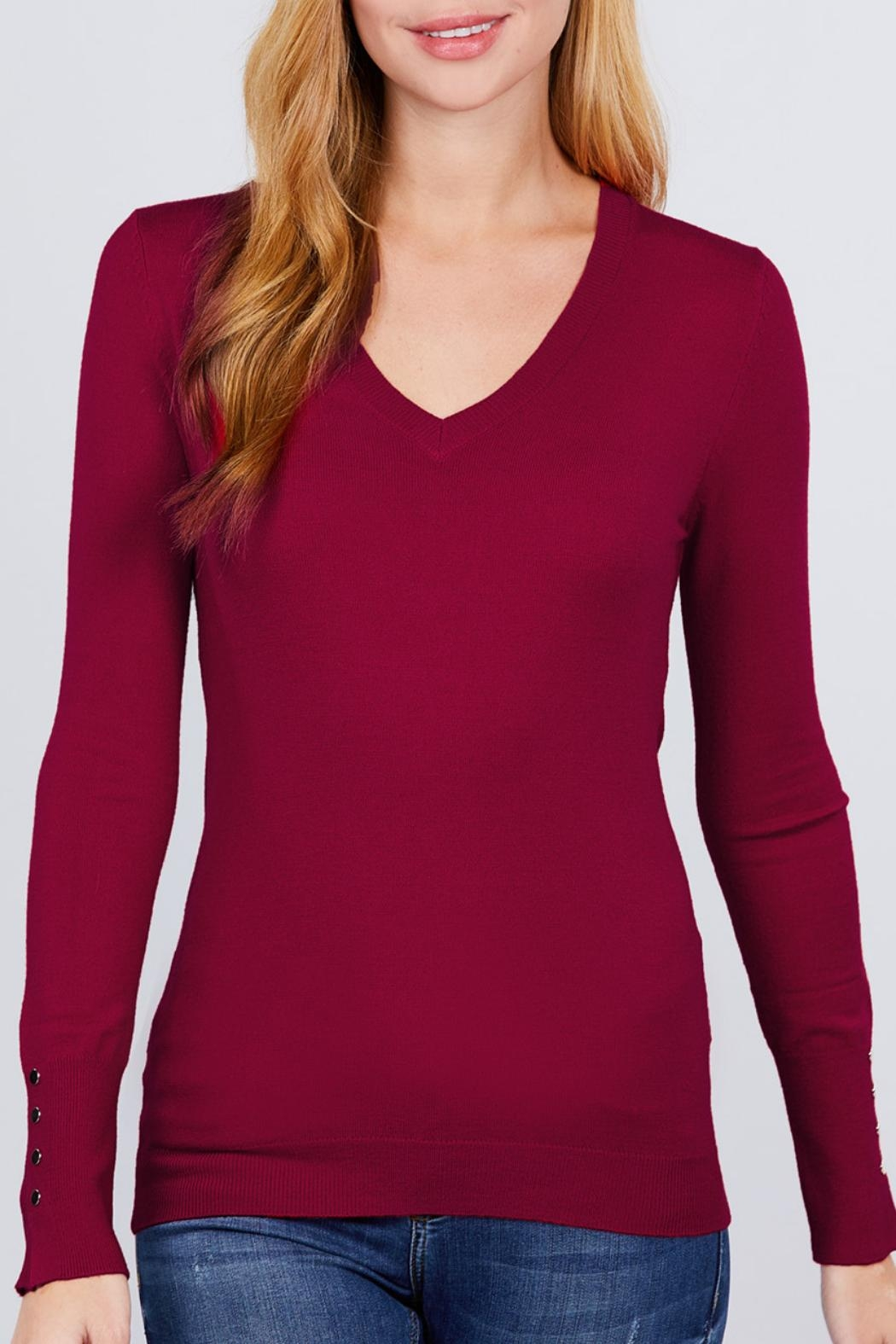 Active USA Wine V-Neck Sweater - Front Cropped Image