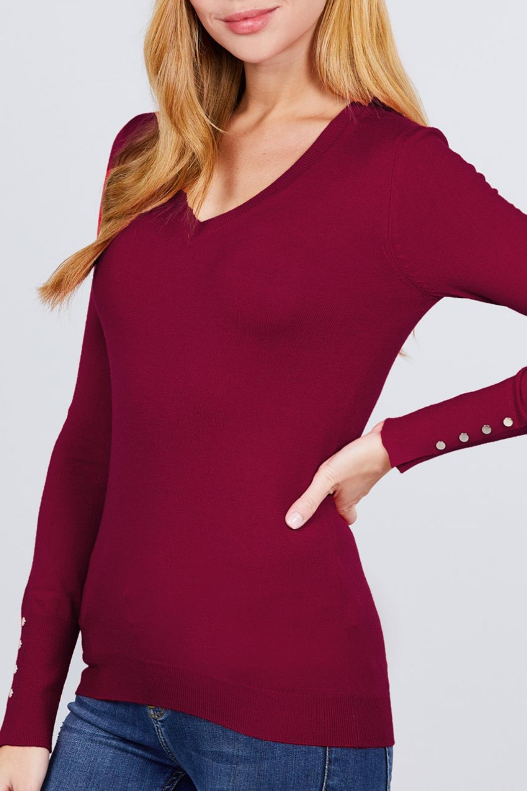Active USA Wine V-Neck Sweater - Front Full Image