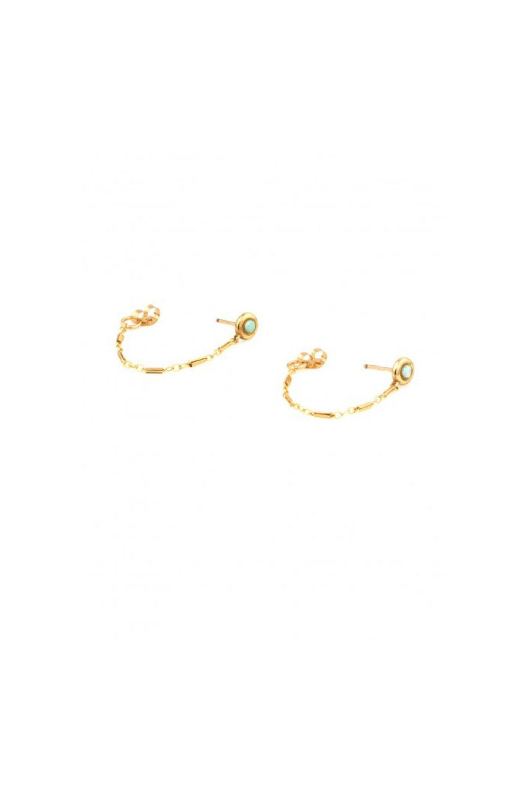 Vanessa Mooney Opal Eye Chain Stud Earrings Front Cropped Image