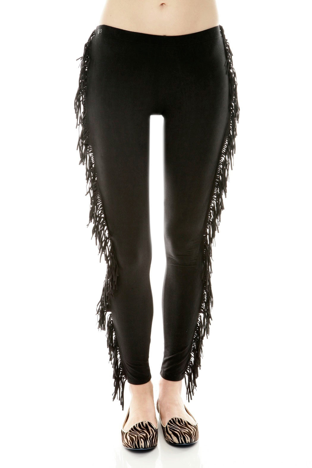 See You Monday Black Fringe Leggings Shoptiques