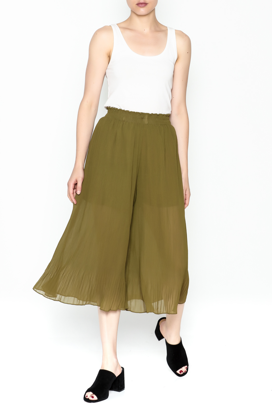 Adeline Pleated Capri Pants - Side Cropped Image