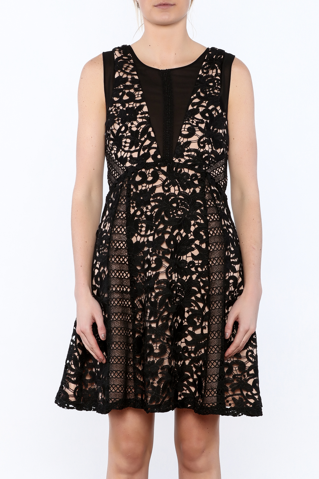 Adelyn Rae Loretta Lace Dress From Alabama By Elitaire Boutique Jolie Clothing Joie Midi Nude M Side Cropped Image