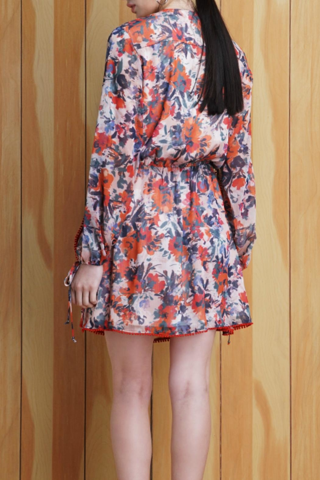 Adelyn Rae Floral Tie Front Dress - Front Full Image