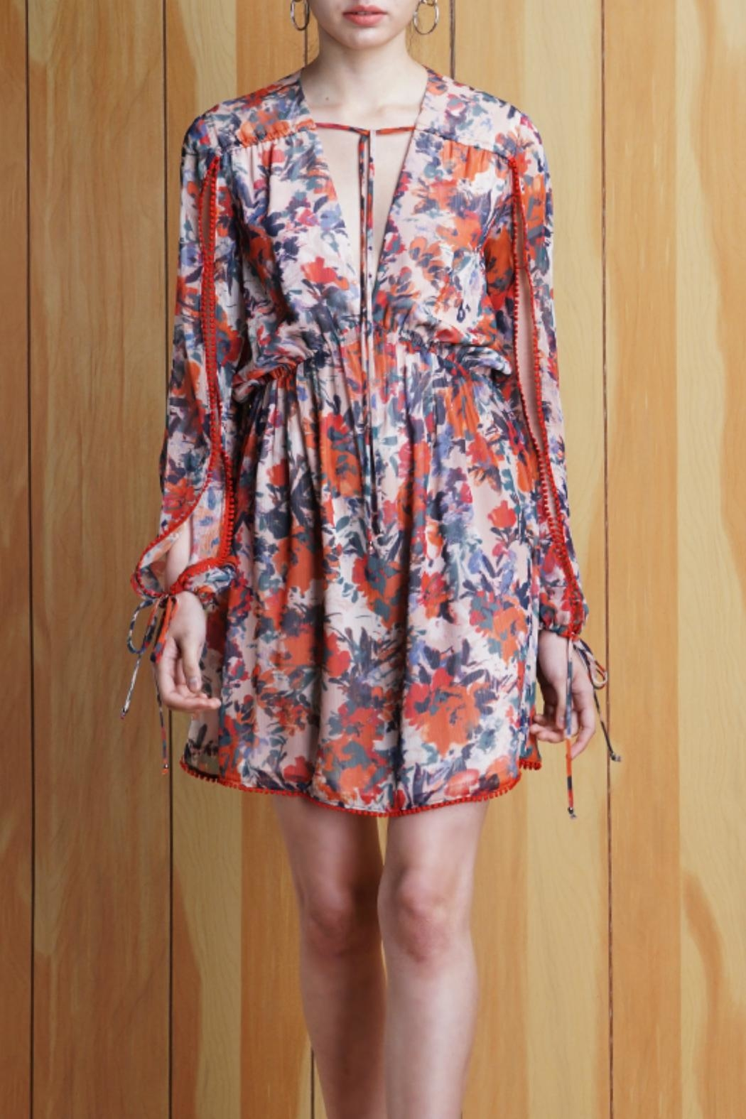 Adelyn Rae Floral Tie Front Dress - Main Image