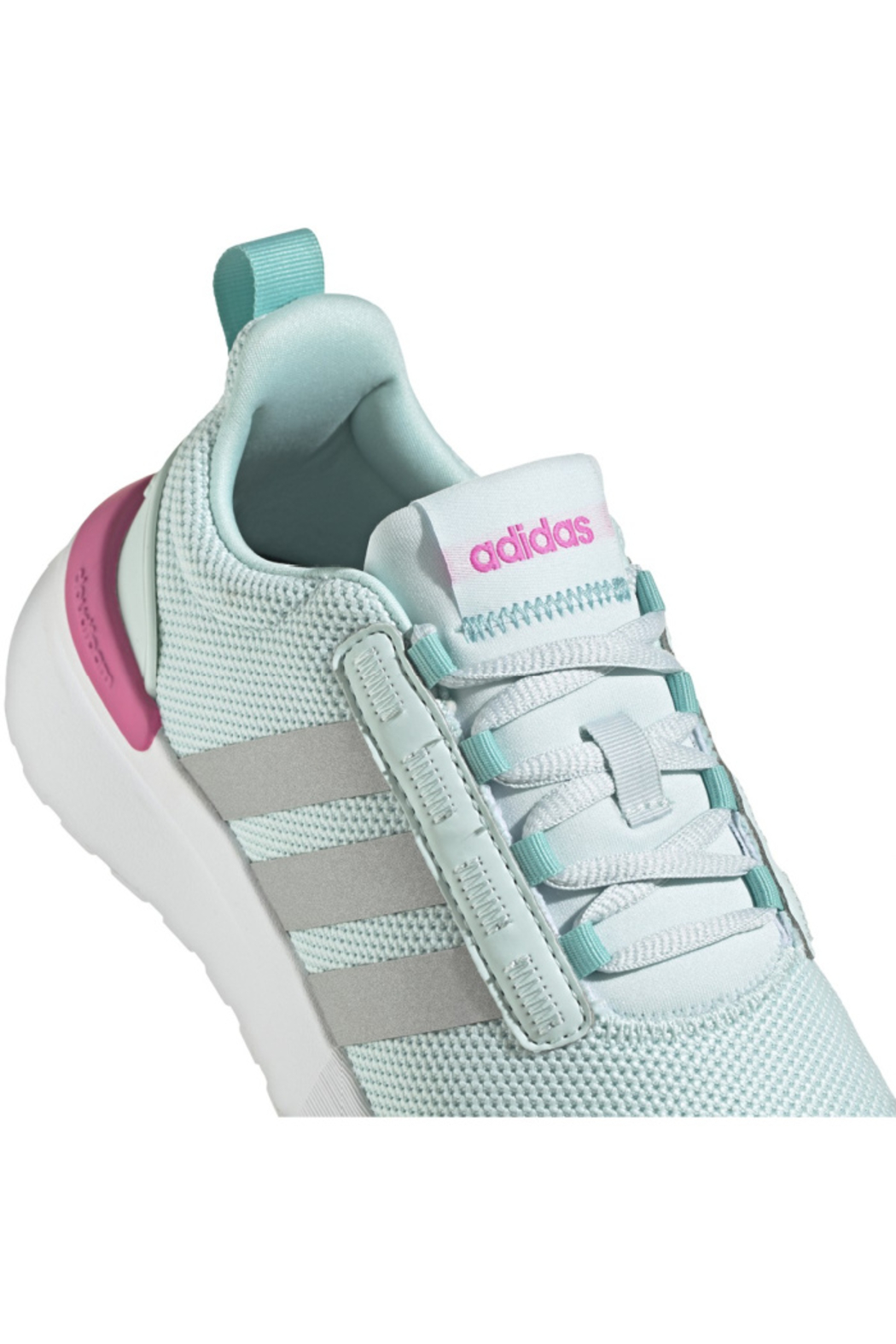 adidas Adidas Girls Racer TR21K in HALO MINT/SILVER MET./SCREAMING PINK - Back Cropped Image