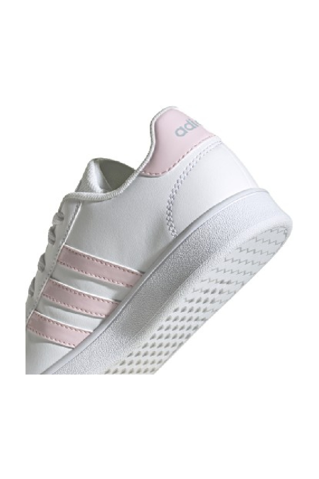 adidas Adidas Kids Grand Court in Future White/Clear Pink/Halo Blue - Back Cropped Image