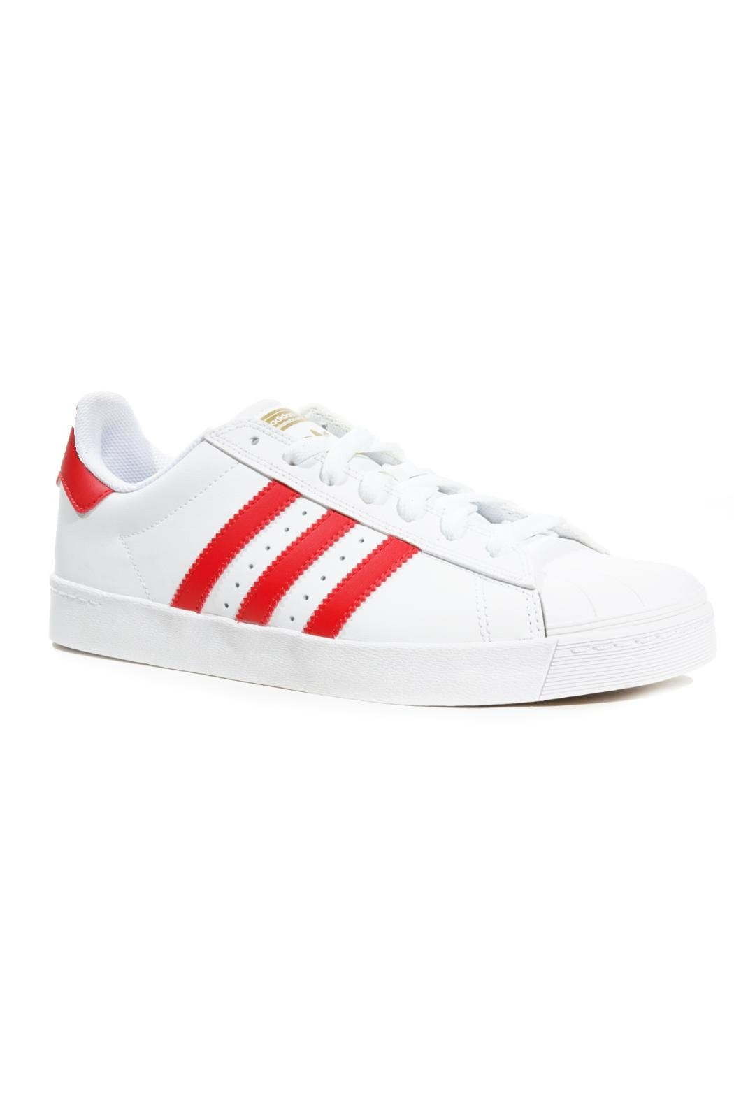 adidas White/red Superstar Adidas - Side Cropped Image